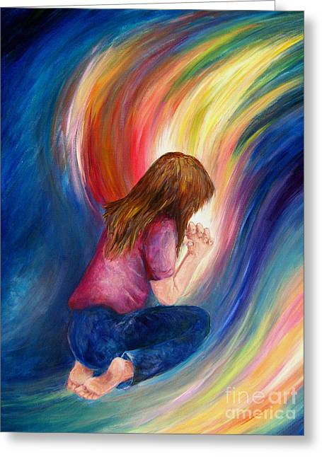 Praying Hands Paintings Greeting Cards - Deliverance Greeting Card by Deborah Smith