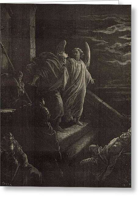 Deliverence Of St. Peter Greeting Card by Antique Engravings