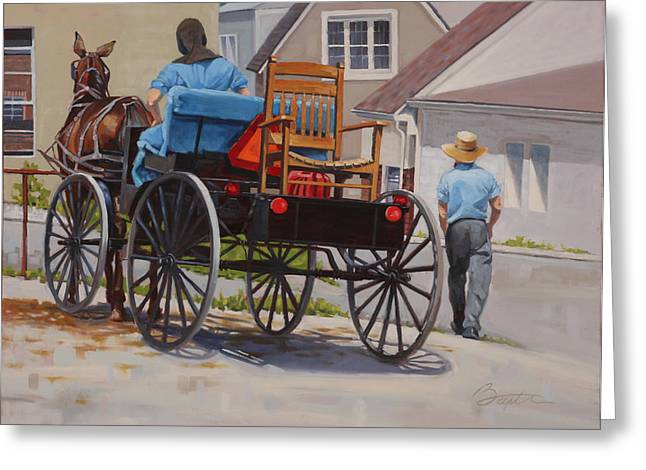Horse And Buggy Paintings Greeting Cards - Delivering the Chair Greeting Card by Todd Baxter