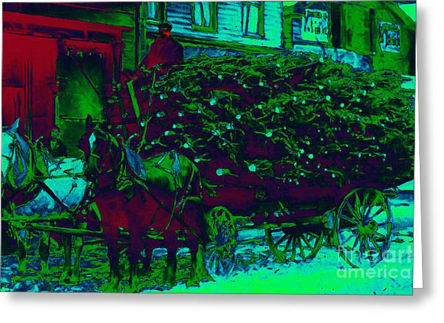 Horse Buggy Digital Art Greeting Cards - Delivering The Christmas Trees - 20130208 Greeting Card by Wingsdomain Art and Photography