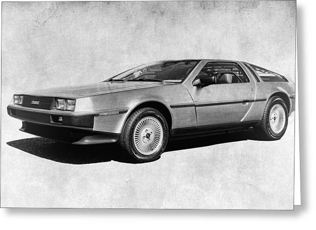 Delorean In Black And White Greeting Card by Steve McKinzie