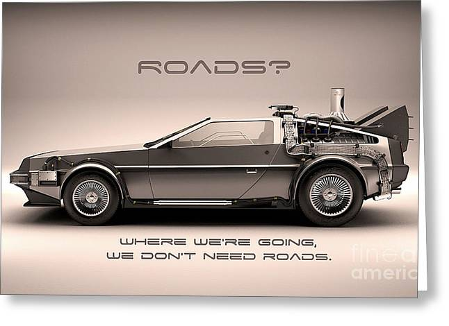 Delorean Greeting Card by Marvin Blaine