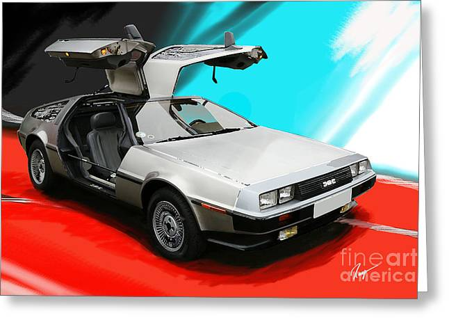 Delorean Greeting Card by Roger Lighterness