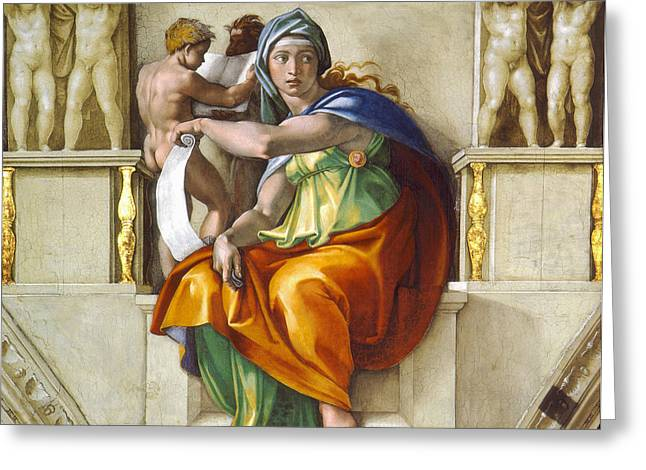 Religious ist Paintings Greeting Cards - Delphic Sybil Greeting Card by Michelangelo di Lodovico Buonarroti Simoni