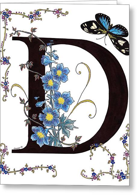 Steal Greeting Cards Greeting Cards - Delphinium and Doris Butterfly Greeting Card by Stanza Widen