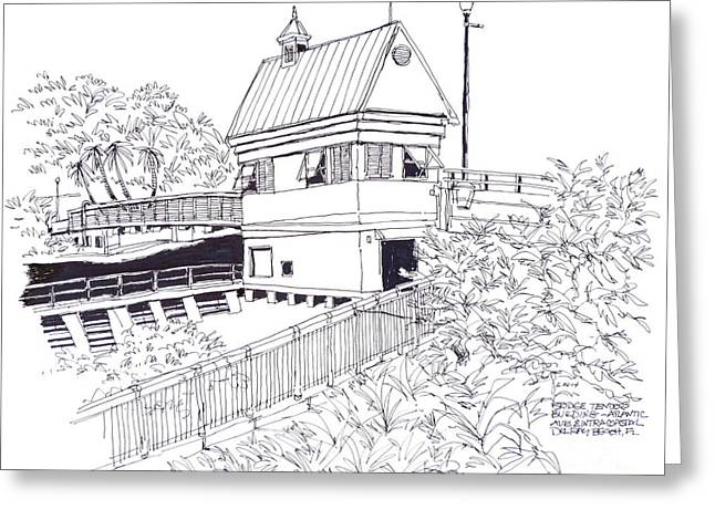 Florida Bridge Drawings Greeting Cards - Delray Beach Bridge Tenders Building located above the Intracoastal Waterway. Florida. Greeting Card by Robert Birkenes