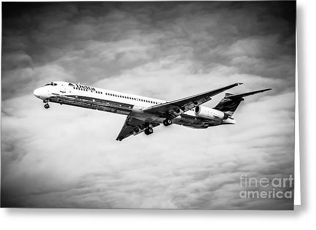 Editorial Greeting Cards - Delta Air Lines Airplane in Black and White Greeting Card by Paul Velgos