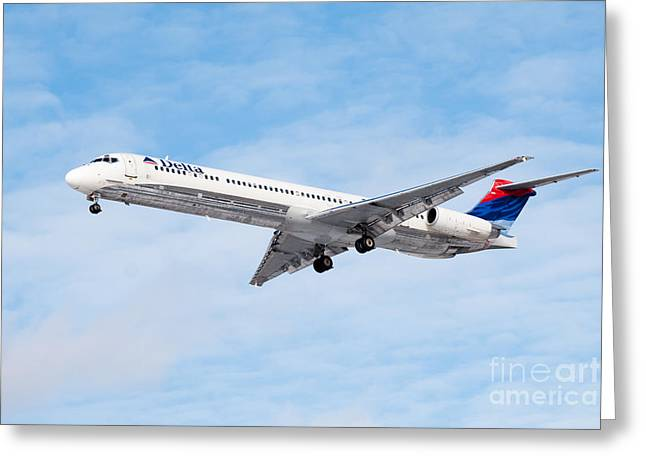 Descend Greeting Cards - Delta Air Lines McDonnell Douglas MD-88 Airplane Landing Greeting Card by Paul Velgos