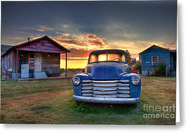 Delta Blue - Old Blue Chevy Truck In The Mississippi Delta Greeting Card by T Lowry Wilson