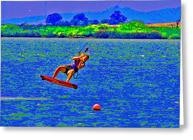 Kite Boarding Greeting Cards - Delta Blue Wind Sailing Greeting Card by Joseph Coulombe