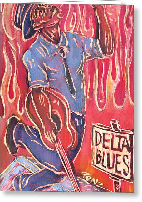 Ponz Greeting Cards - Delta Blues Greeting Card by Robert Ponzio