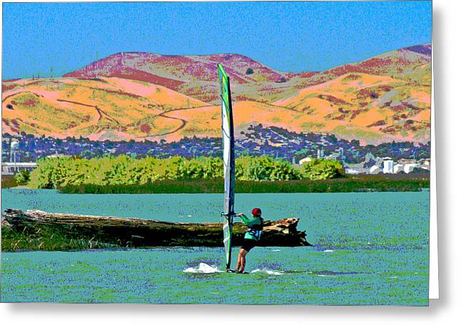 Wind Surfing Art Greeting Cards - Delta Fun Greeting Card by Joseph Coulombe