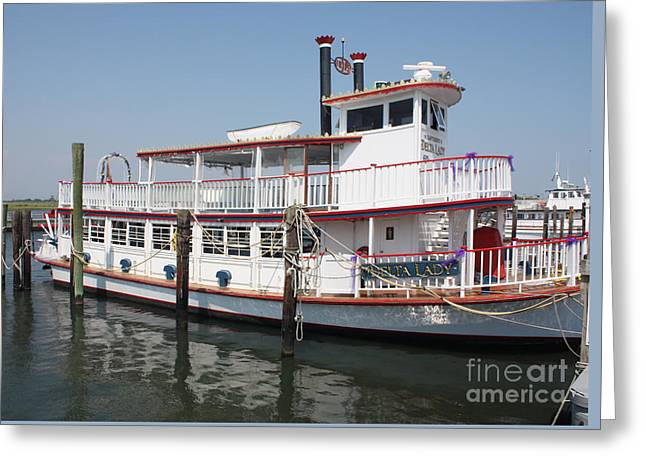Slip Ins Greeting Cards - Delta Lady Riverboat Out Of Captree Greeting Card by John Telfer