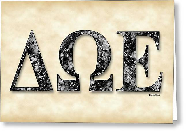 Incorporated Greeting Cards - Delta Omega Epsilon - Parchment Greeting Card by Stephen Younts