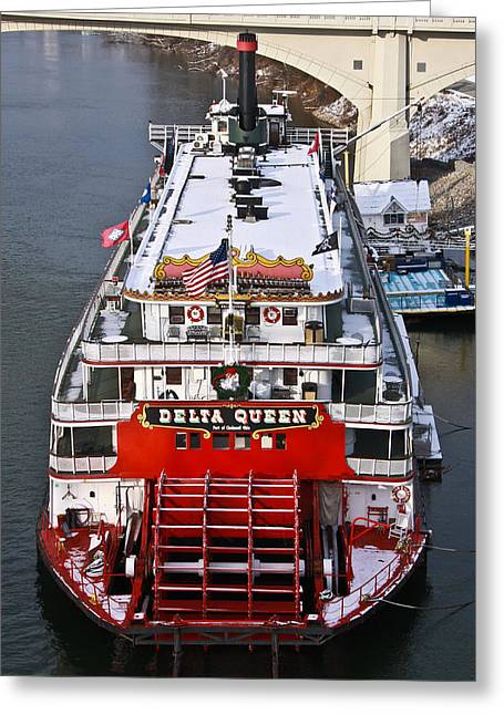 Tennessee River Greeting Cards - Delta Queen in Christmas Snow Greeting Card by Tom and Pat Cory