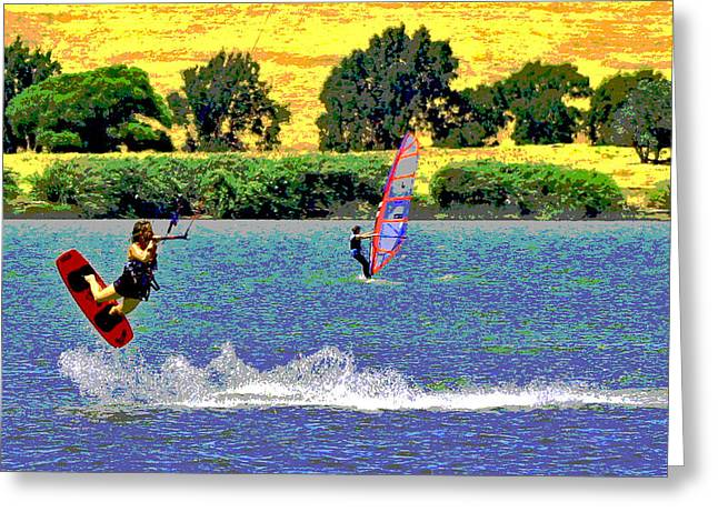 Kite Boarding Digital Art Greeting Cards - Delta Wind Sports Greeting Card by Joseph Coulombe