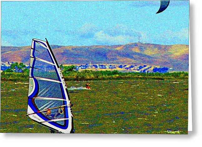 Wind Surfing Art Greeting Cards - Delta Winds Greeting Card by Joseph Coulombe