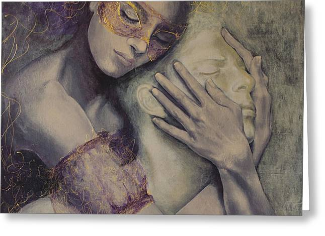Couple Embracing Greeting Cards - Delusion Greeting Card by Dorina  Costras