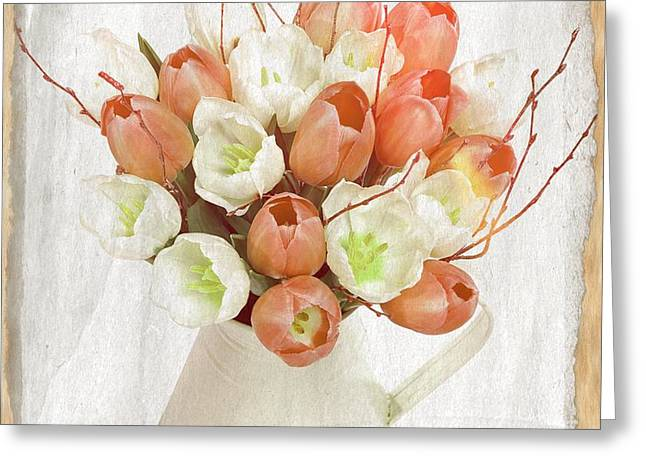 Deluxe Peach Tulips Greeting Card by Debra  Miller