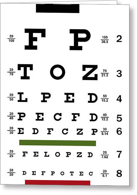 Sight See Greeting Cards - Deluxe Vision Test Chart Greeting Card by Daniel Hagerman
