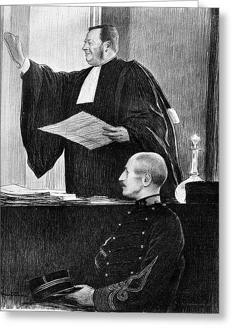 Demange And Dreyfus In Court Greeting Card by Collection Abecasis