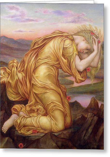 Abduction Greeting Cards - Demeter Mourning for Persephone Greeting Card by Evelyn De Morgan
