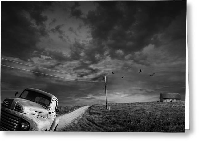 Gravel Road Greeting Cards - Demise of the Small Farm Greeting Card by Randall Nyhof
