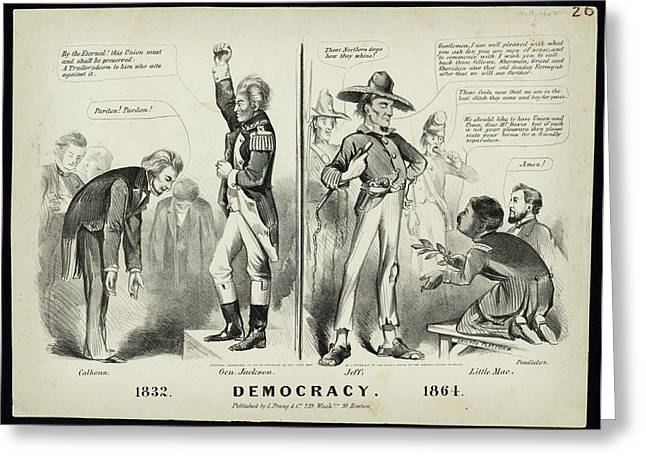 White Frame House Drawings Greeting Cards - Democracy 1832 Greeting Card by Celestial Images