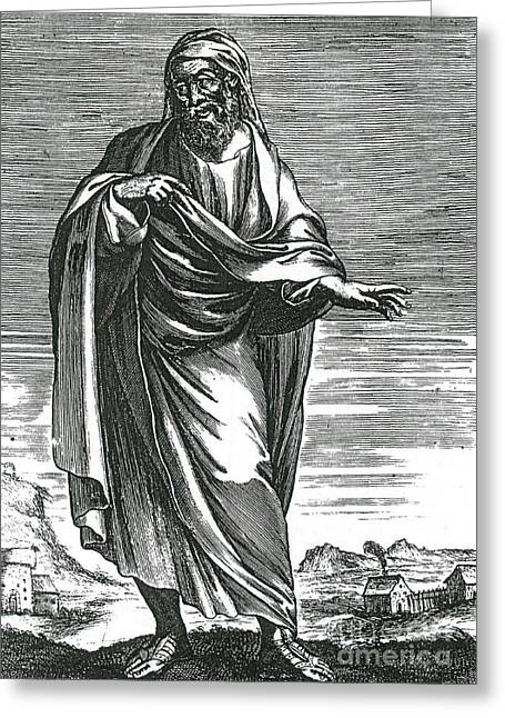 5th Century Bc; Greeting Cards - Democritus, Ancient Greek Polymath Greeting Card by Science Source