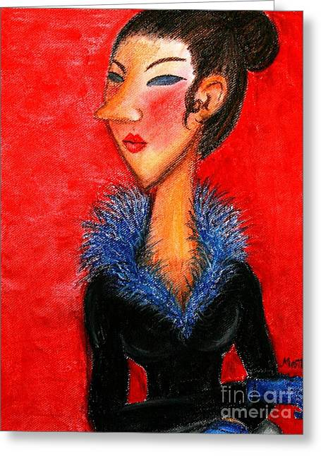 Thirties Pastels Greeting Cards - Demoiselle au bois azur Greeting Card by Cris Motta