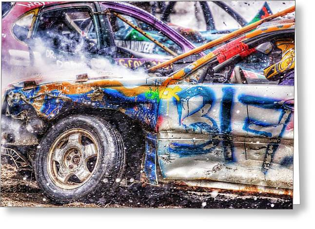 Demolition Derby Greeting Cards - Demolition Derby Car Greeting Card by Lliem Seven