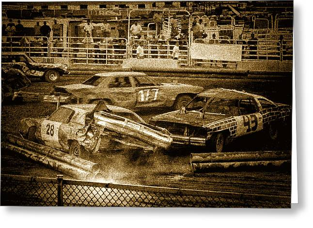 Demolition Derby Greeting Cards - Demolition Derby Greeting Card by Dariusz Janczewski