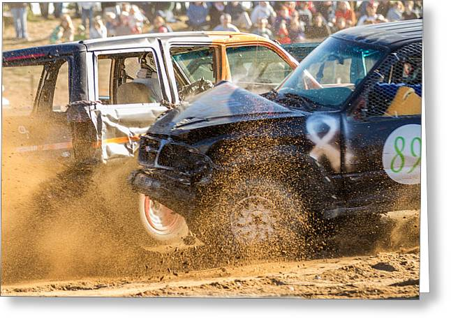 Demolition Derby Greeting Cards - Demolition Derby Greeting Card by Sanchez  Saunders