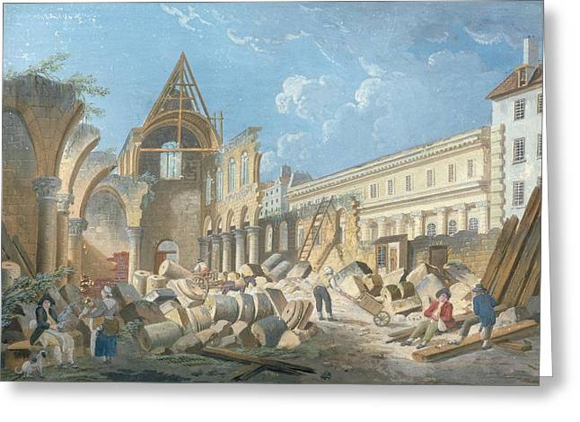 Convents Greeting Cards - Demolition Of The Couvent Des Cordeliers, C.1802 Gouache On Paper Greeting Card by Pierre Antoine Demachy