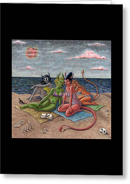 Beach Towel Greeting Cards - Demon Beaches Greeting Card by Holly Wood