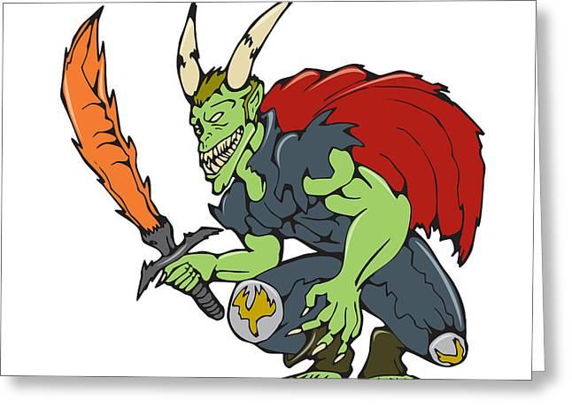 Knelt Digital Greeting Cards - Demon Wield Fiery Sword Cartoon Greeting Card by Aloysius Patrimonio