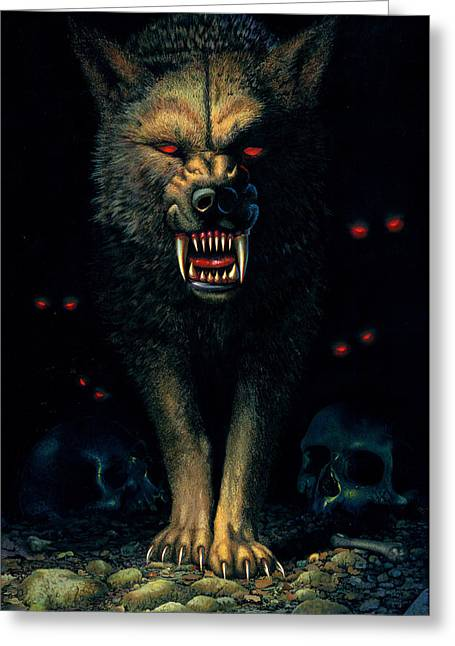 Animal Portraits Greeting Cards - Demon Wolf Greeting Card by MGL Studio - Chris Hiett
