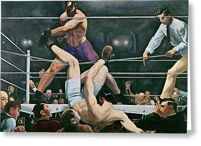 Punch Greeting Cards - Dempsey v Firpo in New York City Greeting Card by George Wesley Bellows