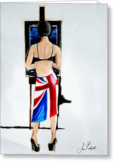 Female ist Mixed Media Greeting Cards - Demure Beauty Greeting Card by Sean Roderick