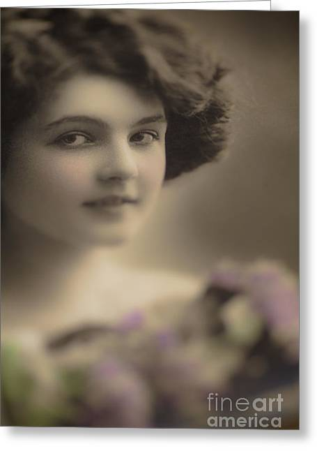 Demure Greeting Cards - Demure Edwardian Beauty Greeting Card by Jan Bickerton
