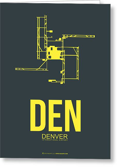 Denver Greeting Cards - DEN Denver Airport Poster 1 Greeting Card by Naxart Studio