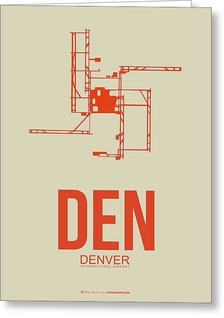 Town Mixed Media Greeting Cards - DEN Denver Airport Poster 2 Greeting Card by Naxart Studio