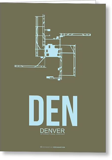 Denver Greeting Cards - DEN Denver Airport Poster 3 Greeting Card by Naxart Studio