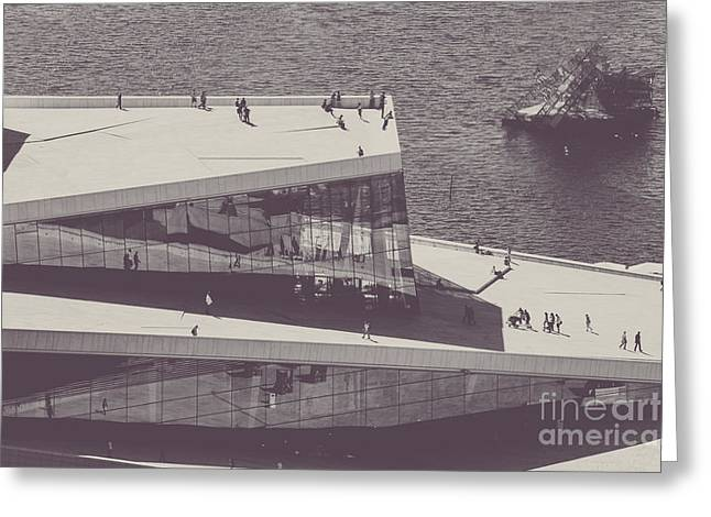 Oslo Opera House Greeting Cards - Den Norske Opera Greeting Card by Christina Klausen