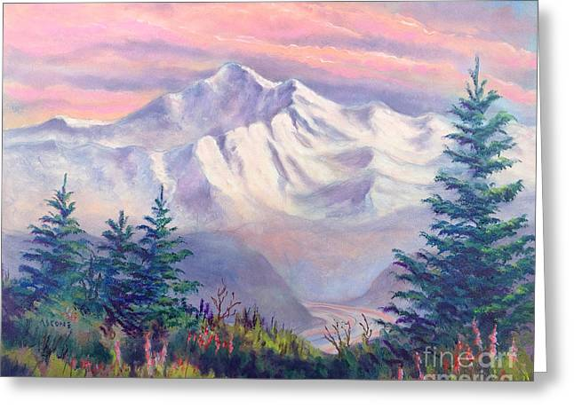 Sienna Greeting Cards - Denali Alpenglow Greeting Card by Teresa Ascone