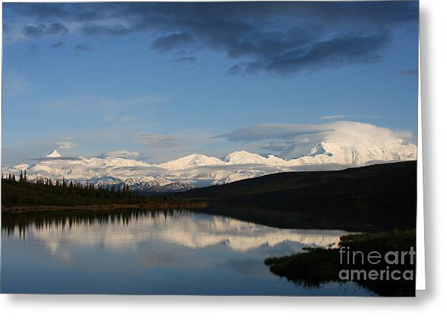 Snowy Evening Greeting Cards - Denali Reflections Greeting Card by Christina Gupfinger
