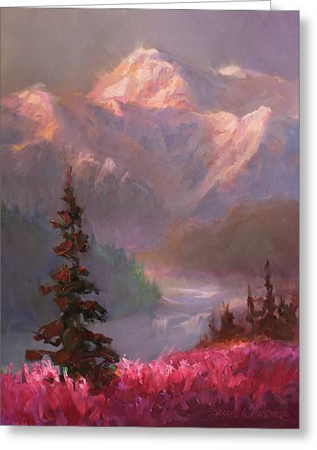 Denali Summer - Alaskan Mountains In Summer Greeting Card by Karen Whitworth