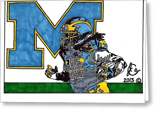 Action Sports Drawings Greeting Cards - Denard Robinson 1 Greeting Card by Jeremiah Colley
