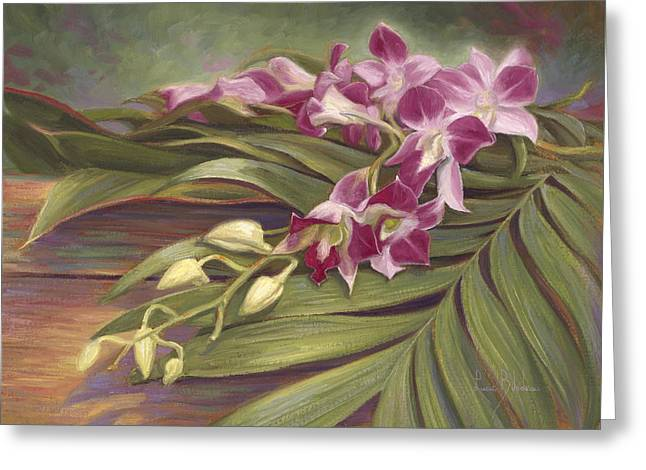 Dendrobium Greeting Cards - Dendrobium Orchids Greeting Card by Lucie Bilodeau