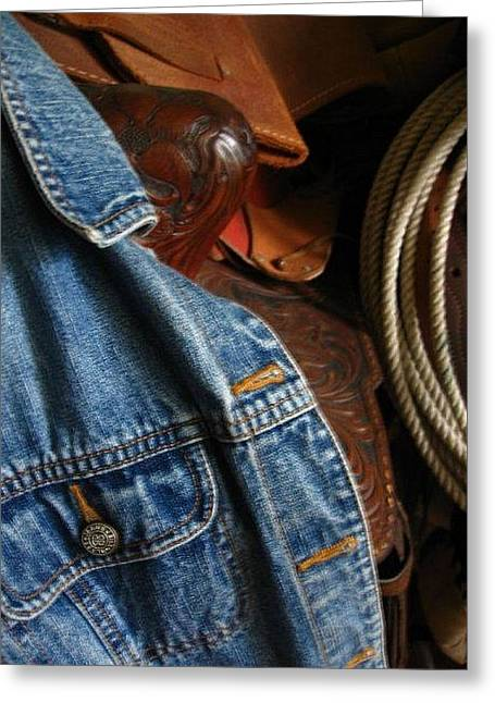 Denim And Leather Greeting Card by Deb Martin-Webster